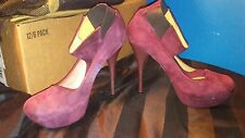 L.A.M.B. By Gwen Stefani Suede Leather High Heel Pumps  Burgundy sz 10M
