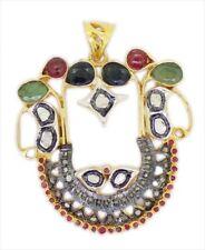 925 Sterling Silver Rose Cut Diamond Antique Victorian Ruby & Emerald Pendant