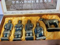 Vintage The Tomb Of Emperor Shi Qin Dynasty 5 Piece Figurine Collectible w/Box