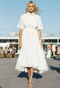 AJE White Motocyclette Quilted Bubble Midi Cotton Dress 8