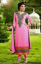 PINK GRGT INDIAN LONG SALWAR KAMEEZ SUIT DRESS MATERIAL wi ZARI EMBRO LADIES DEN