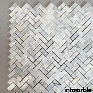 Calacatta Polished Herringbone Marble Mosaic Natural Stone Floor Wall 23x50x10mm