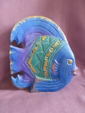 Curved Tropical Fish Table Decor Mantle Carved Wood Blue Purple Green Gold