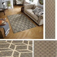 Moda Geo Flatweave Utility Mats Kitchen Rugs Hall Runners Grey Anti Slip Gel