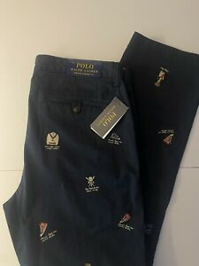 *NWT*Polo Ralph Lauren Navy Bear Collegiate Embroidered Stretch Pants Size 30X30