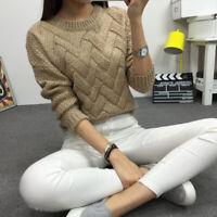 Women Sweater O-neck Pullover Knit Tops Loose Female Knitwear Outerwear Jumptb