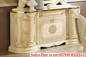 Luxury Ivory High Gloss Italian 4 Door Sideboard/Buffet with diamanté inserts