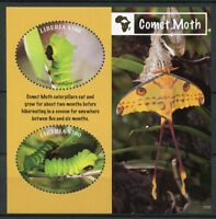 Liberia Butterflies Stamps 2018 MNH Comet Moth Caterpillars Moths 2v S/S II