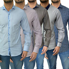 Cotton Paisley Long Sleeve Slim Casual Shirts & Tops for Men