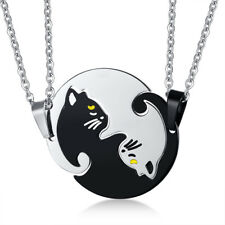 1 Pair Couple Matching Puzzle Cartoon Cat Pendant Necklace Chain Eternal Jewerly