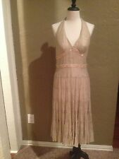 Cache size 8 evening gown, cocktail dress, shimmery halter style summer dress