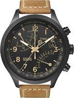 Timex T2N700 hombre en Negro Tostado Flyback Reloj Cronógrafo