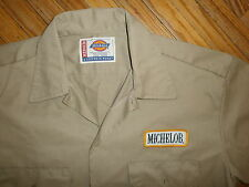 MICHELOB WORK SHIRT Beer Delivery Guy Patch Uniform vtg Tan Dickies MEDIUM