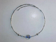 Beaded Silver One Size Fits All Blue Glass Bead Necklace Choker Blue
