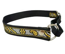 "Real Leather 3/4"" Wide Martingale Dog Collar Choker, Fits 13""-15.5"" Neck"