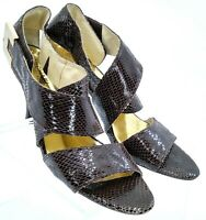 Michael Kors Sandal Pump Womens 8.5 M Brown Snake Print Leather Cross Strap Heel