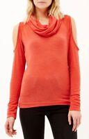 New River Island Orange Cold Shoulder Cowl Neck Jumper Warm Knitted Top 6-18