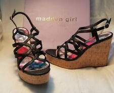 Madden Girl Elmaa Black F Leather Open Peep Toe Cork Wedge High Heel Shoe 11 $50