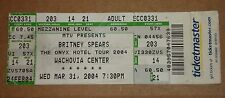 Unused Britney Spears 2004 Ticket Onyx Hotel Tour Wachovia Center