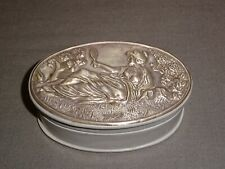 Attractive Art Nouveau Style Sterling Silver Topped Leather Trinket Box