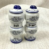 Vintage Blue and White China Pottery Salt and Pepper Shakers Pots Cruet Set