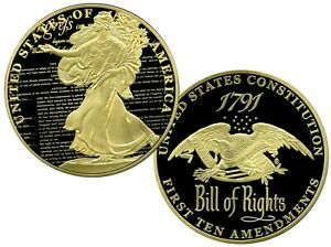 THE BILL OF RIGHTS COMMEMORATIVE COIN PROOF LUCKY MONEY VALUE $129.99