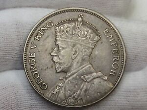XF+ 1935 Silver Half Crown New Zealand.  #49