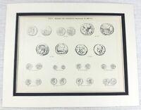 1897 Antico Stampa Antico Romana Monete Numismatica Valuta Denaro Caesar Roma