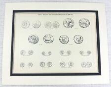 1897 Antique Print Ancient Roman Coins Numismatics Currency Money Caesar Rome