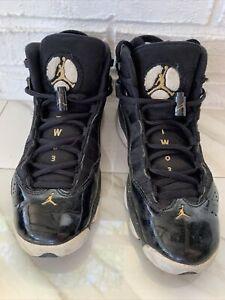 Nike Air Jordan 6 Rings Black Gold Basketball Sneakers - Kids Size 5Y