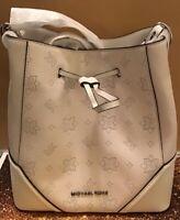 NWT MICHAEL KORS NICOLE LARGE Bucket Crossbody Bag In OPTIC WHITE Leather $448