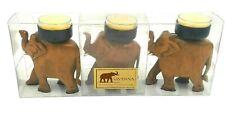 Savanna Carved Wooden African Elephant Tealight Candle Holder Set of 3 Vintage