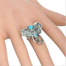 Fashion Bohemia Alloy Silver Plated Natural Turquoise Elephant Finger Rings