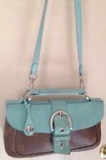 Texier Brown Leather W/turquoise Suede Front Flap Shoulder Bag