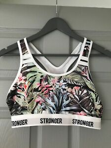Workout Yoga Crop Top White Stronger Floral Tropical Design Size 10