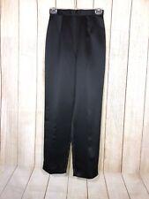 OLEG CASSINI Black Tie Black Satin Dress Pants 100% Polyester Size 4 NWT