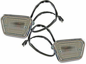 1968 Ford Mustang Front Side Marker fender Lights (Pair) - Amber Bulbs