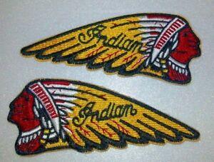 "Indian Motorcycle Biker Patch SET~4"" x 1 5/8""~Left & Right~Vest~Hat~Ships FREE"