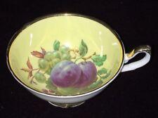 Regency Bone China Tea Cup Fruit Plum Grapes Yellow Inside Made in England Rare