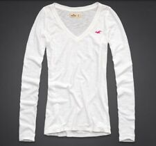 Hollister by Abercrombie WHITE L/S Shirt NEW Small S Embroidered Seagull Top