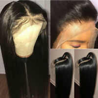 Lace Front Wig Glueless Natural Peruvian Human Hair Wigs Silky Straight Black hm