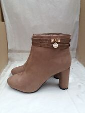 Stunning Koi Couture Fawn Suede Block Heel Ankle Boots - UK 6