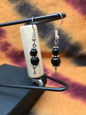 Earrings with small Tibetan stones, and semi precious stone black Onyx