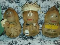 3 VINTAGE Hand Carved Coconut Monkeys Hawaii Tiki Mama & Baby Bartender Teacher