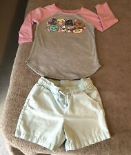 Girl lot of 2 - Star Wars shirt 7 with teal Cat & Jack shorts 6