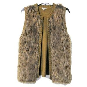 Eyeshadow Faux Fur Open Front Vest Sleeveless Sweater