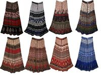Indian Rayon Long Skirt Ethnic Free Shipping Hippie Boho Gypsy Women Crinkle