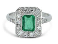 Art Deco Emerald and Diamond Platinum Ring 0.50ct + 0.70ct Emerald