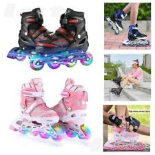 Kids Size 6~9.5 Inline Skates Adjustable Roller Blades Light Flashing Wheel