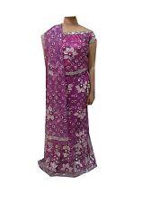 Om Vintage Indian Wedding Net Hand Beaded Purple Lehenga,Blouse,Dupatta LP59